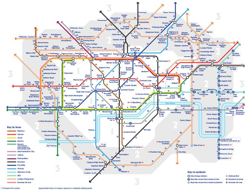 New London Tube Map Shows How Long It Takes To Walk Not Ride A - London map train