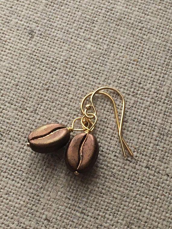 Coffee Bean 14k Gold Filled Earrings. Coffee Lovers Gift