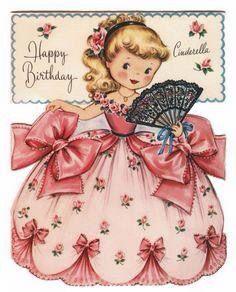 Vintage Cinderella Birthday Vintage Birthday Cards Vintage Greeting Cards Vintage Birthday
