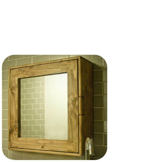 Large Wooden Bathroom Mirror Cabinet 56hx54wx18d Cm Natural Wood Medicine Cabinet 3 Shelves Custom Handmade Modern Rustic Somerset Uk Wooden Bathroom Vanity Wooden Bathroom Cabinets Bathroom Wall Cabinets