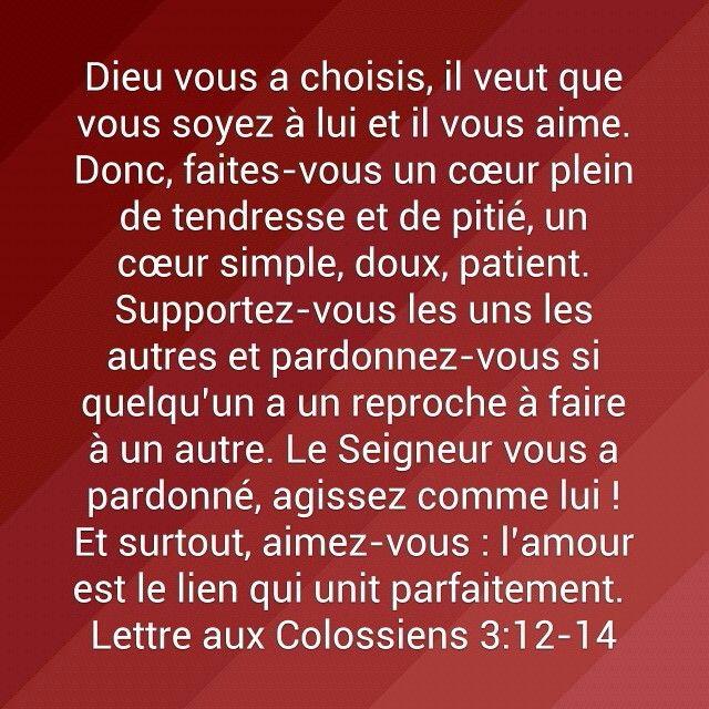 Fabuleux Lettre aux Colossiens 3:12-14 Verset Bible | PAROLE VIVANTE  II94