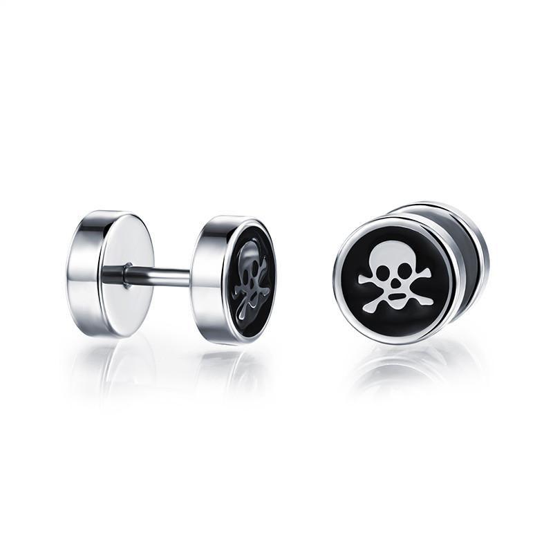 f787d3b08 Gothic Punk Rock Skull Earrings for Men Double Sided Barbell Stud Earrings  Stainless Steel Male Earrings Jewelry