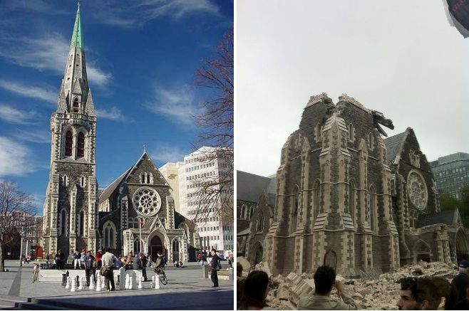 Image result for christchurch cathedral before and after earthquake