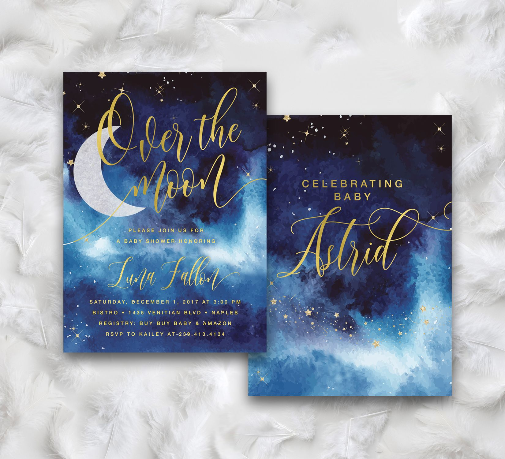 Over The Moon Boy Baby Shower Invitation {Blue}