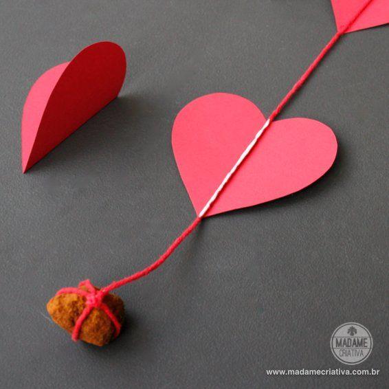 Madame criativa   como fazer cortina/guirlanda de corações de ...