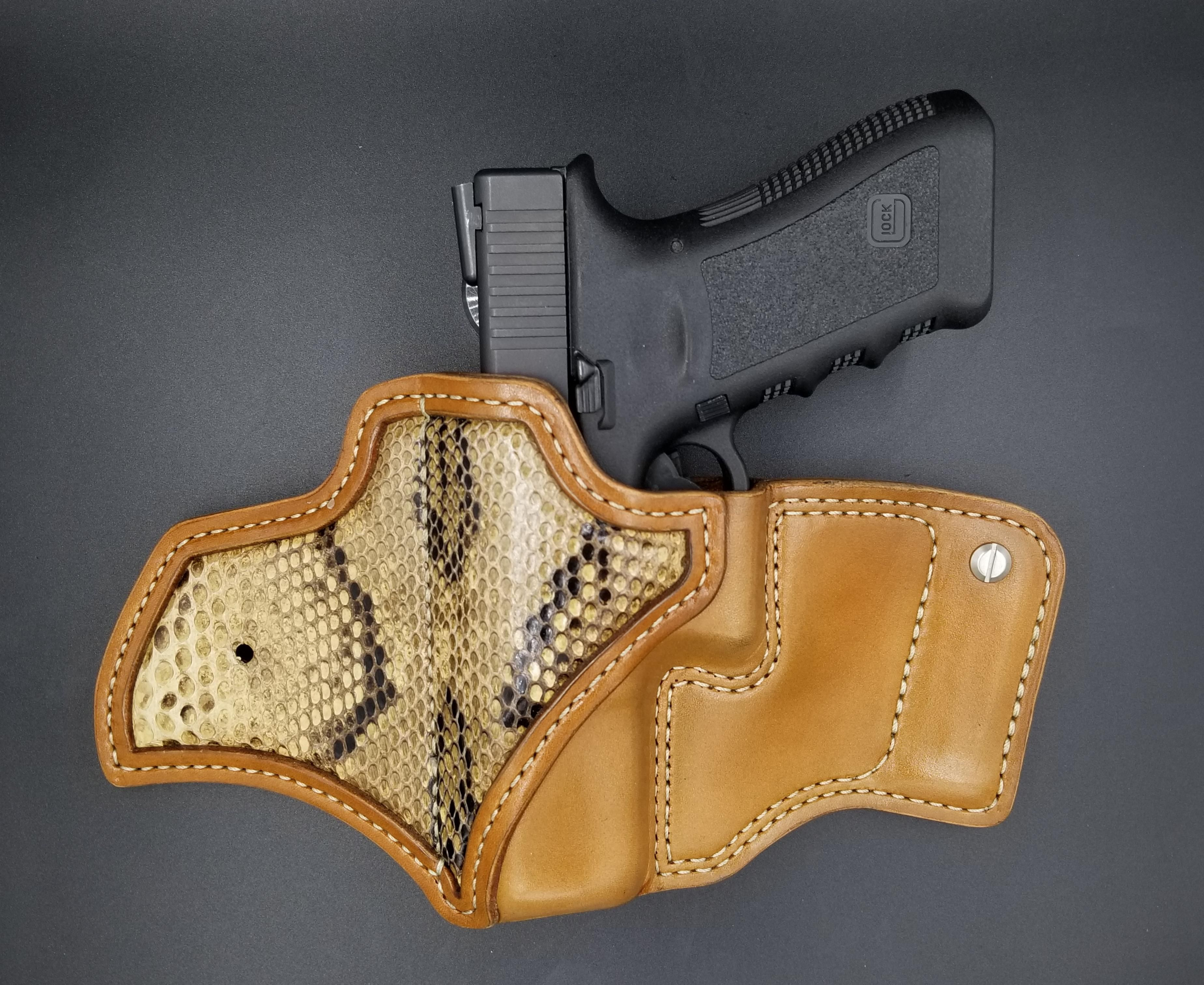 Jeep JL Holster Tan with Python Leather holster, Leather
