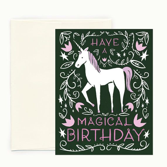FREE SHIPPING On Single Cards A Fan Favorite Of Ladies Great And Small Our Majestic Unicorn Birthday Greeting Will Surely Bring Smile Painted