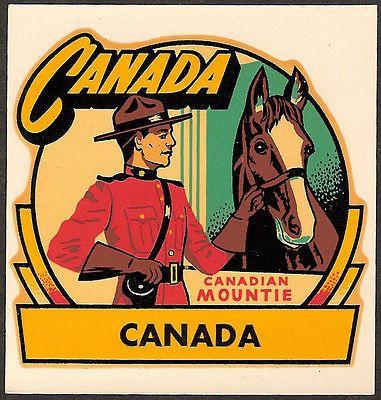 Canada Mountie Vintage Travel Decal Sticker