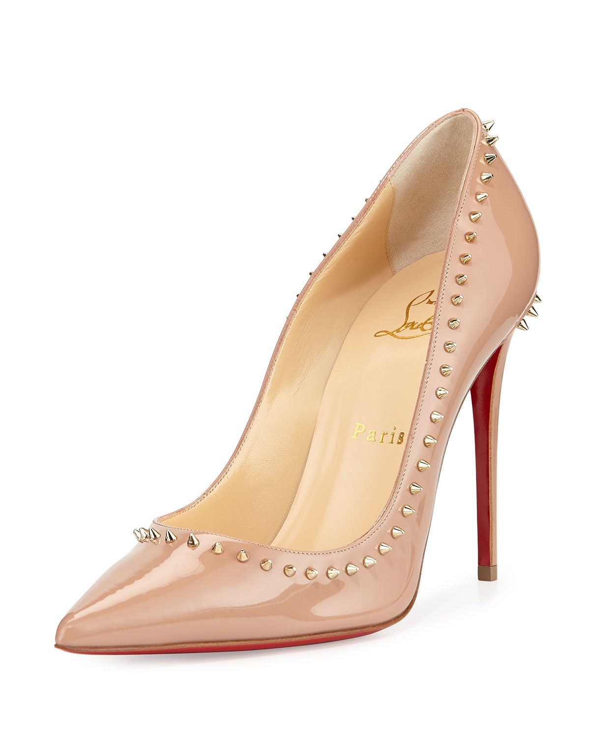 4b8e057a45a Anjalina Spike Patent Red Sole Pump Nude/Golden in 2019 | *Apparel ...