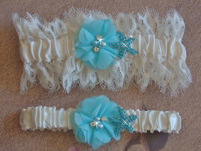 Beach Wedding Garter With Aqua Starfish Ivory Venice Lace Bridal Set Destination