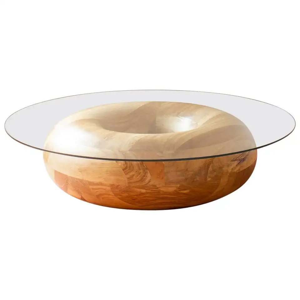 Caramel Donut Circular 48 Inch Oak And Tempered Glass Coffee Table Glass Coffee Table Coffee Table Wood Glass Cocktail Tables [ 960 x 960 Pixel ]