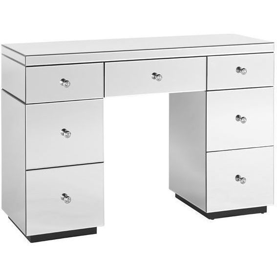 Mirrored 7 Drawer Vanity Dressing Table In White | Buy Dressing Tables