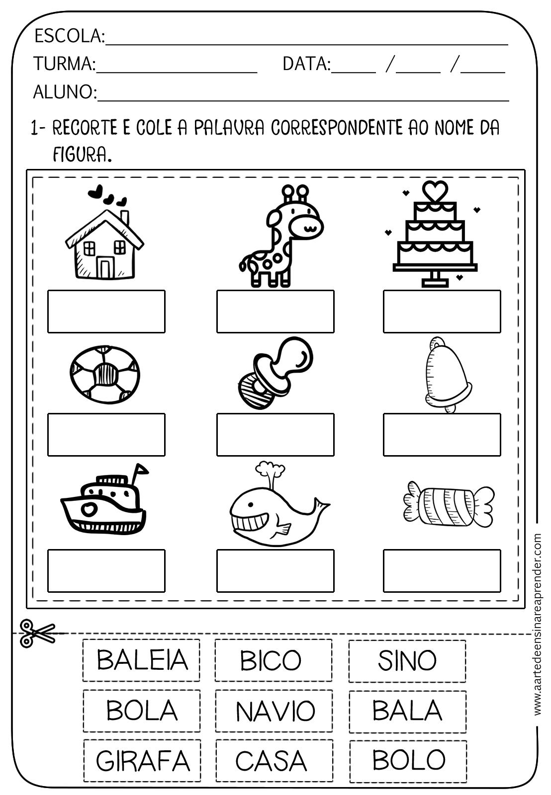Muito Atividade pronta - Nome dos desenhos | Alfabetização, Atividades e  TM46