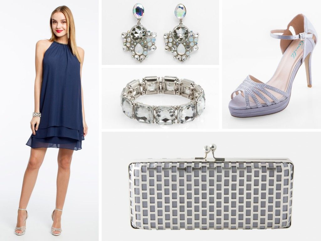 Party pretties for spring and summer silver accessories navy blue navy blue dresses are always a classic choice for semi formal parties like the ombrellifo Image collections