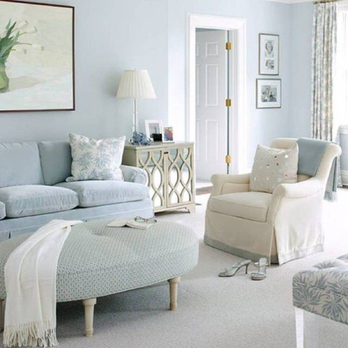 20 Living Rooms With Beautiful Pastel Colors Light Blue Living Room Monochromatic Room Chic Living Room #pastel #colors #for #living #room