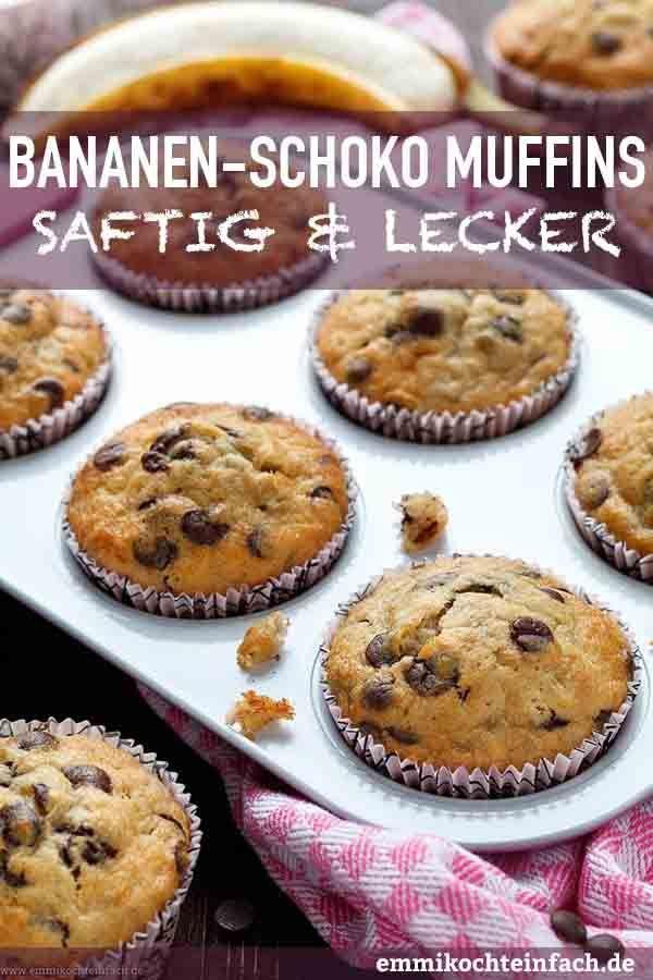 Einfache Bananen Schoko Muffins - emmikochteinfach