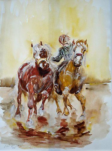 Frau mit 2 Pferden, Aquarell