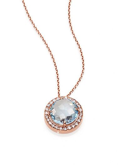 Suzanne Kalan 14k Multi Blue Topaz Pendant Necklace wqg70