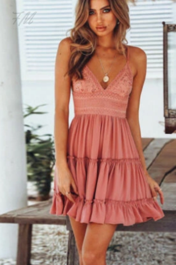 Photo of Kvinner Spring & Summer Backless Layers Boho Short V Neck Mini Sundress