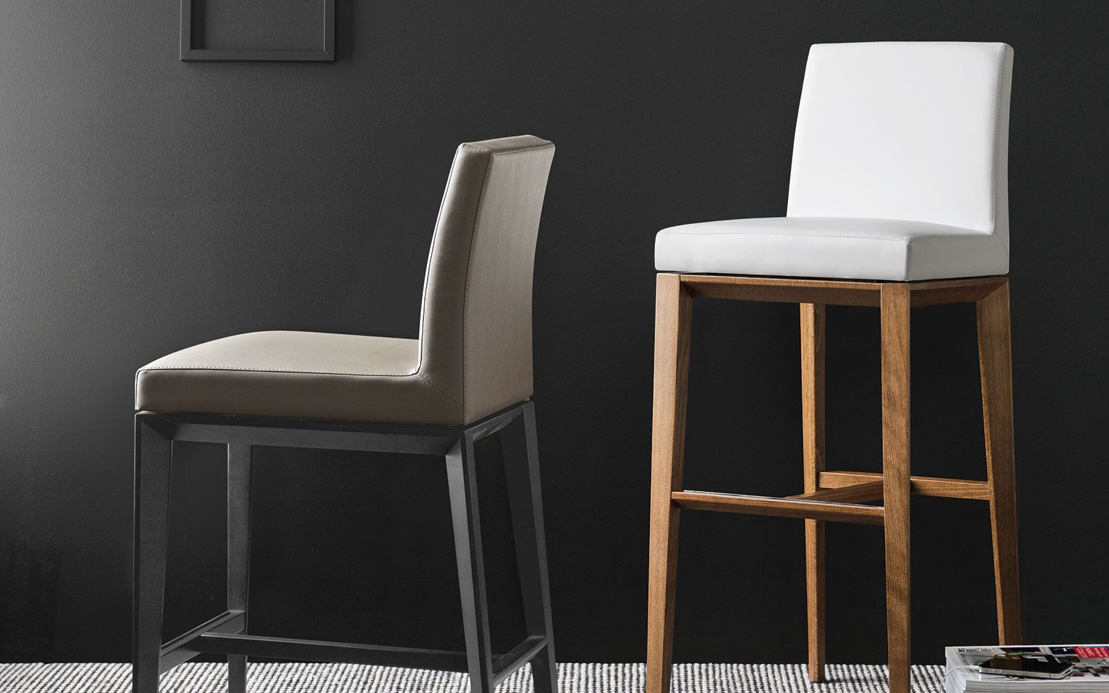 BESS upholstered wooden stool - Calligaris CS/1446-LH | Cucina ...