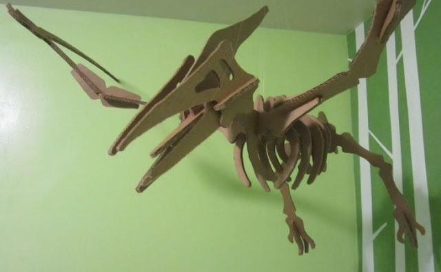 pterodactyl cardboard puzzle with templates by diyhacksandhowtos