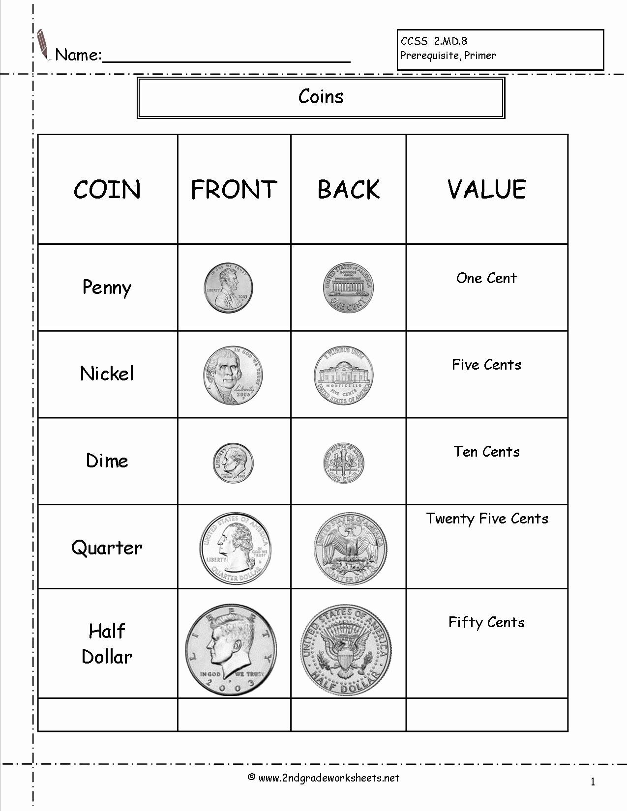 Penny Worksheets For Kindergarten New Counting Coins And