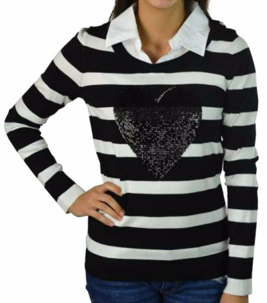 INC International Concepts Women's Sweater Black White Stripe ...