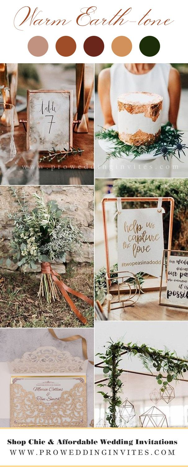 rustic organic wedding colour palette Muted Earth Tones combines shades of olive, khaki, sage
