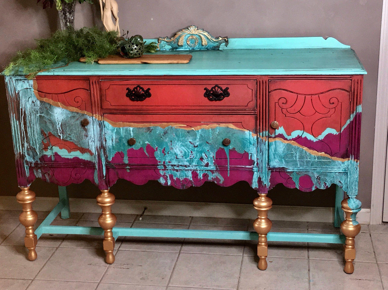 Buffet Southwest Boho Patina In 2019 Paint Furniture