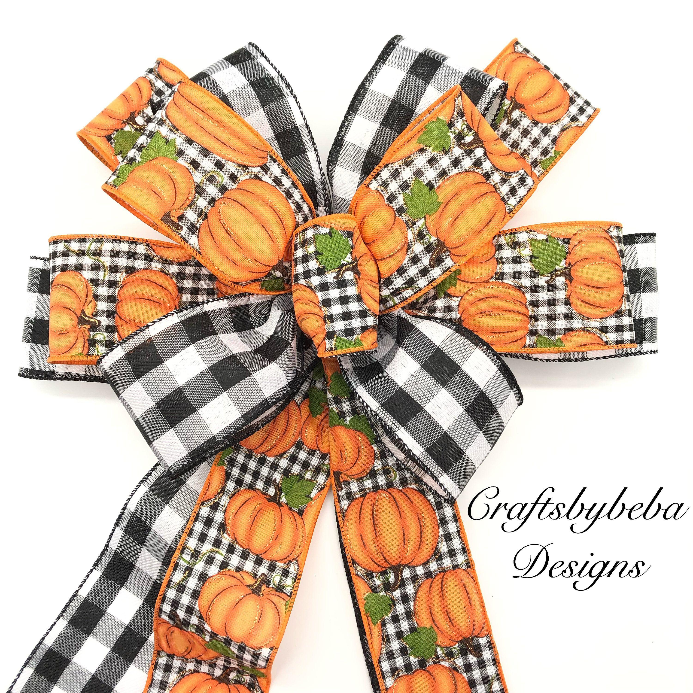 10 Harvest Orange Leaf Glittered Wired Bows