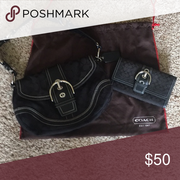 e93a1baa1a7f1 Original Coach purse and wallet-black Original Coach purse and wallet. Purse  is used but I m great condition. Wallet is used and is in OK condition Coach  ...