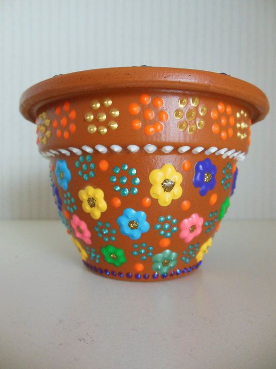 Hand Painted Flower Pot With Small Floral Design Painted Flower