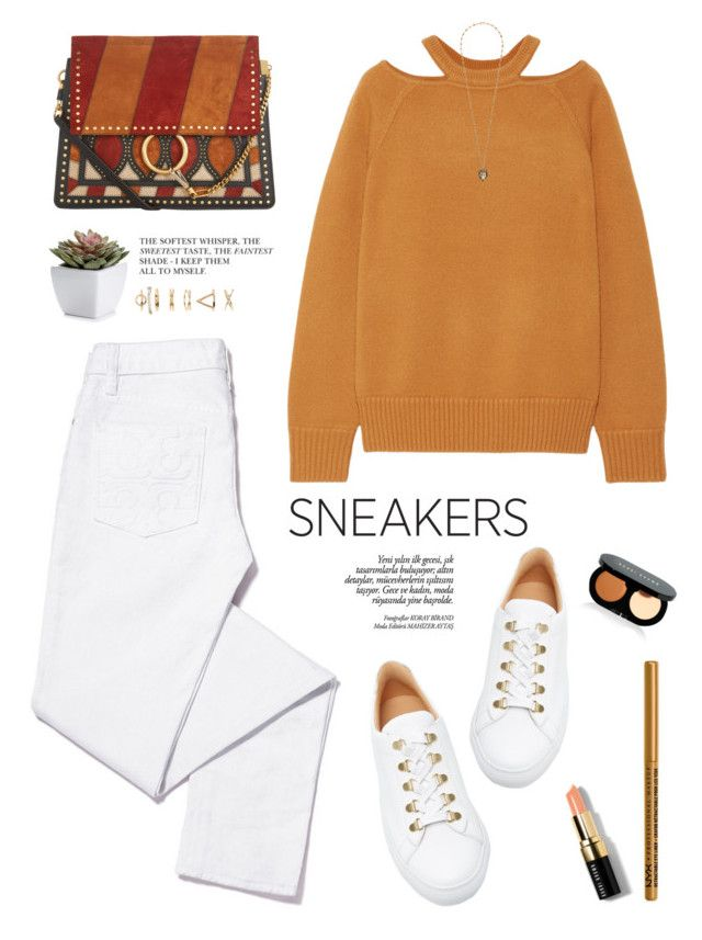 """White sneakers"" by yexyka ❤ liked on Polyvore featuring Koio, Chloé, Tory Burch, Jason Wu, Bobbi Brown Cosmetics, NYX, Forever 21, Gucci, white and Sweater"