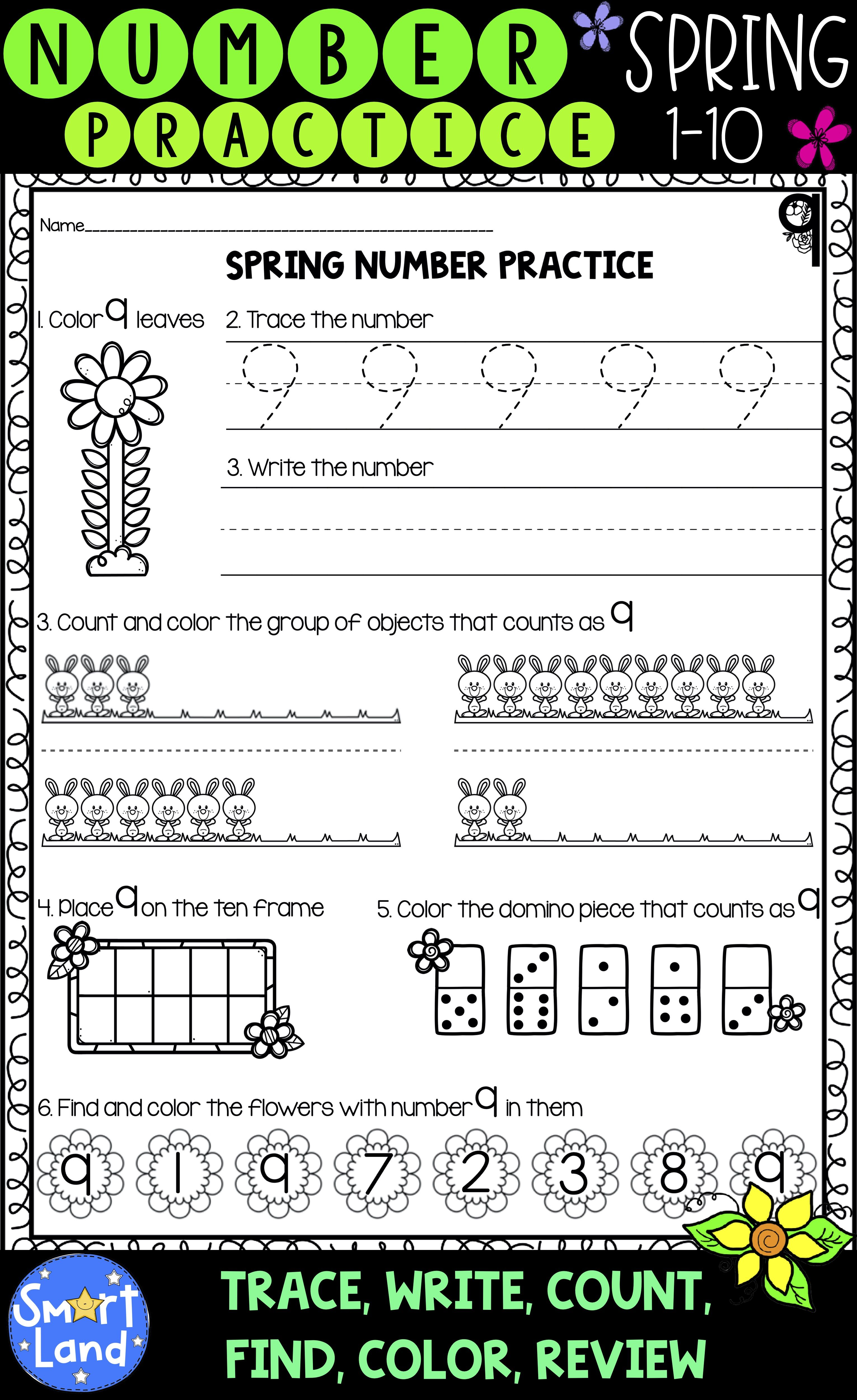 Number Practice 1 10 Spring Edition