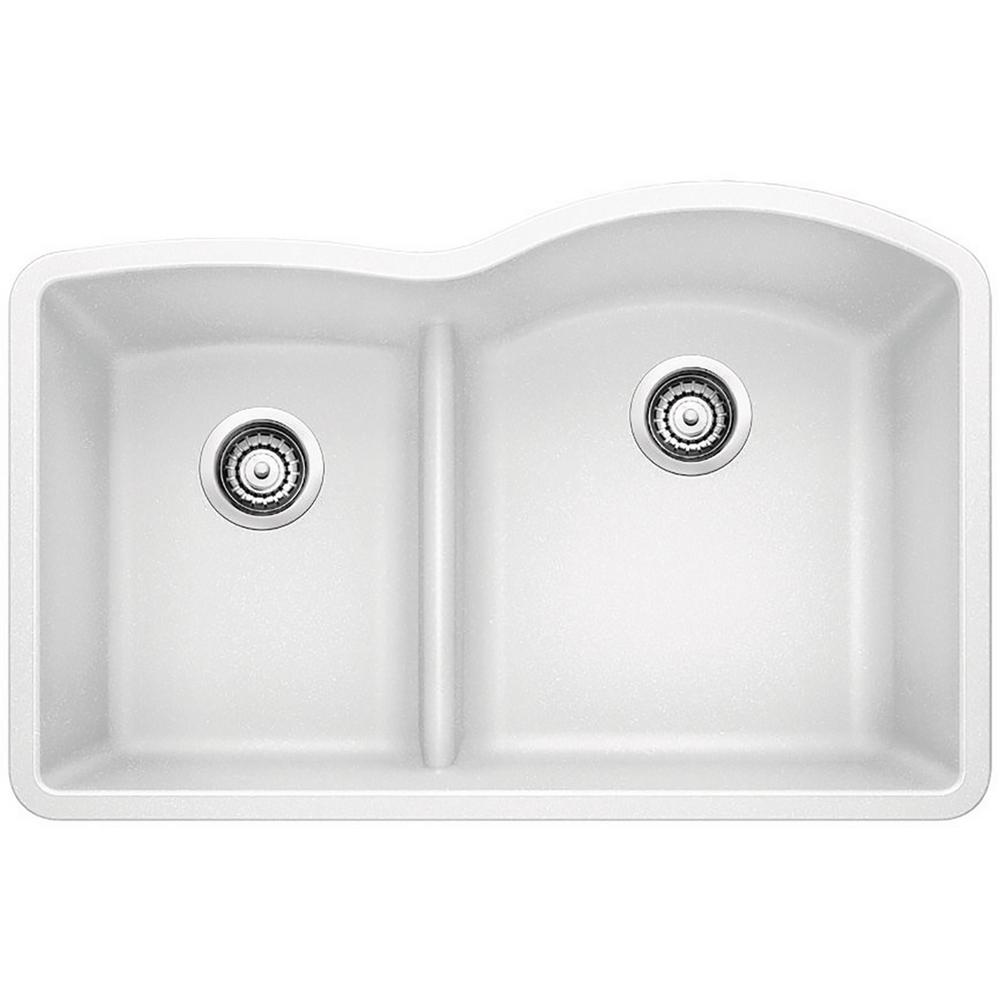 Blanco Diamond Undermount Granite Composite 32 In 40 60 Double Bowl Kitchen Sink With Low Divide In White 441603 Sink Composite Kitchen Sinks Double Bowl Kitchen Sink