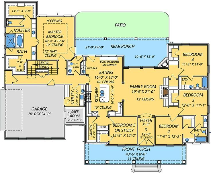 family house plans with bonus room. Southern House Plan with Bonus Space  floor plan I like the access to spare bathroom from back porch and laundry room directly across Image result for bungalow plans 2 master suites 4
