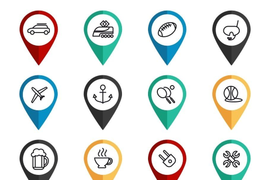 Navigation Signs With Travel Icons Travel Icon Holiday Symbols Popular Travel