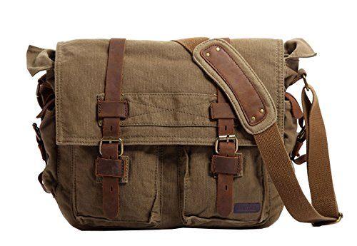 Side Bag Messenger Bag Canvas Leather Bag Army Green Postman Bag Canvas Crossbody Bag Everyday Shoulder Bag
