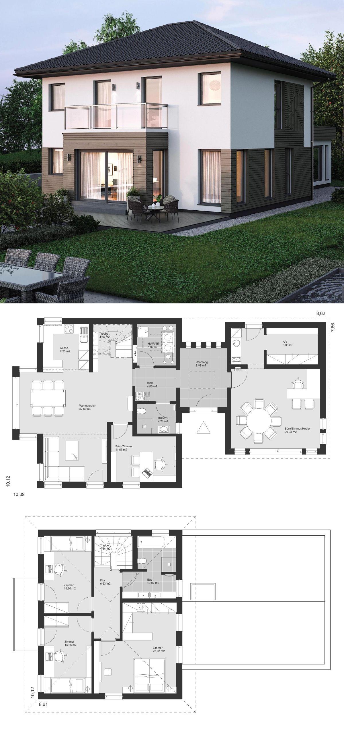 Stadtvilla modern grundriss klassisch mit walmdach for Architektur klassisch
