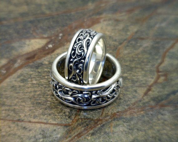CASCADE II Gothic style wedding band in sterling silver antique ...