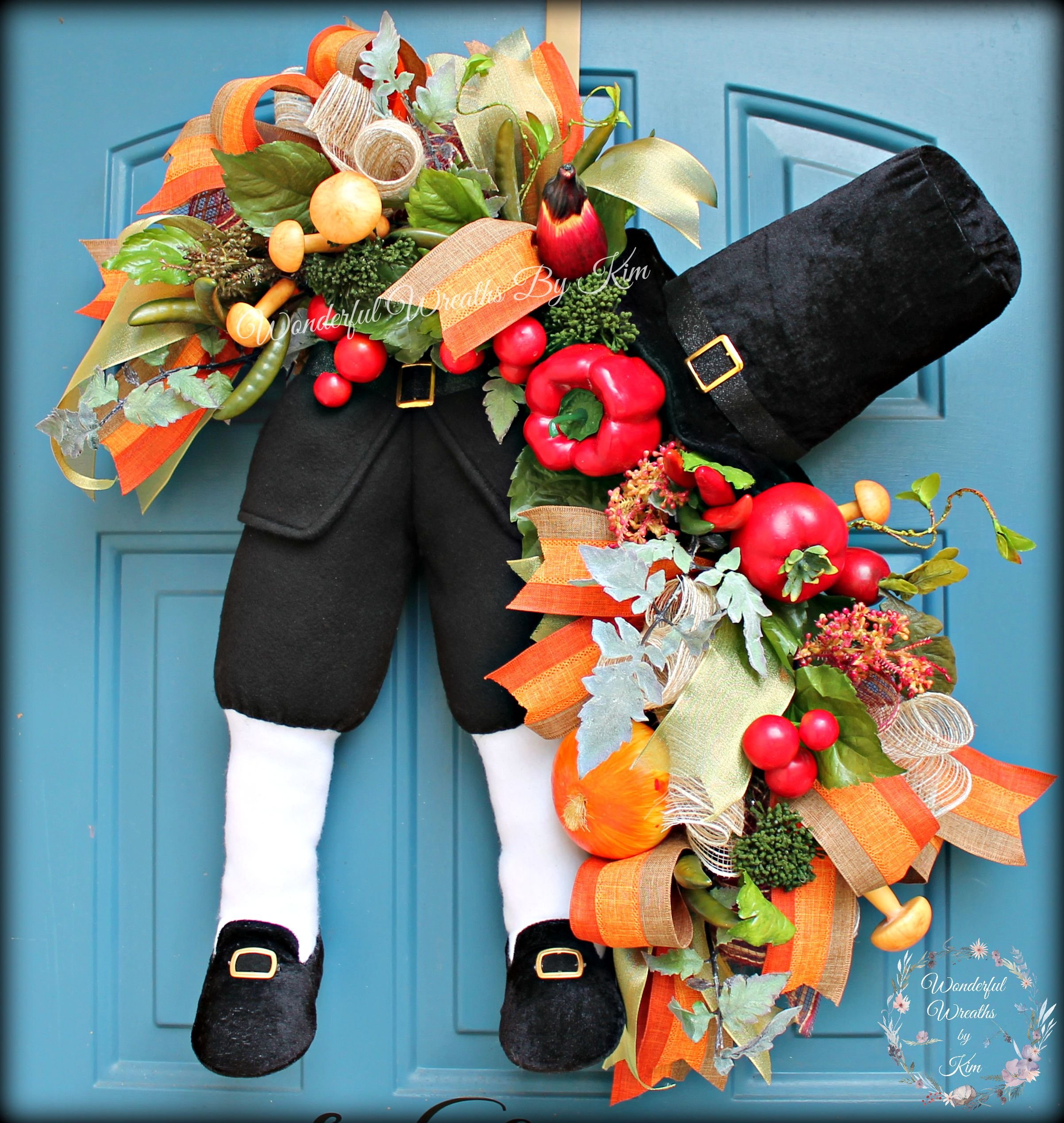 Pilgrim Wreath, Thanksgiving Wreath, Harvest Swag, Fall Wreath, Holiday  Swag, deco mesh wreath, burlap wreath, Character swag, Home decor
