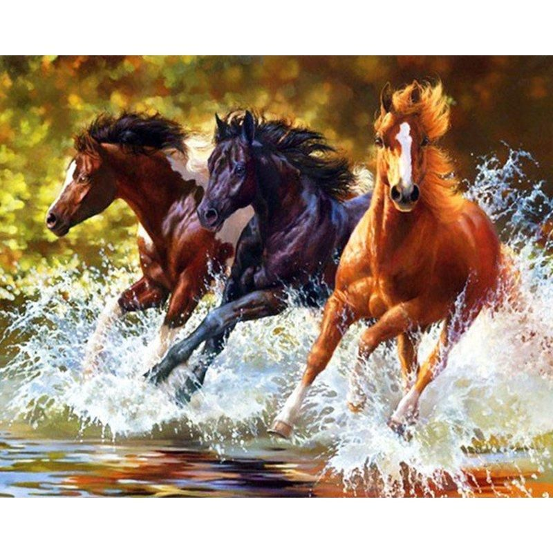 Diamond Painting 3 Horses Running In The Water Horse Painting Diy Canvas Wall Art Horses