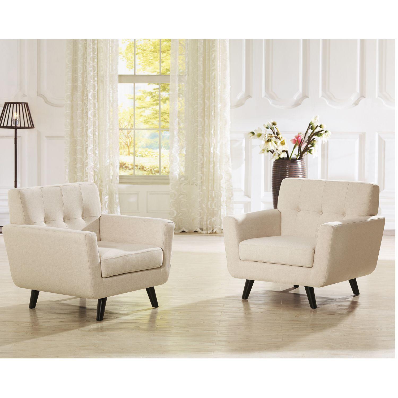 Beige modern armchair - Baxton Studio Novak Contemporary Beige Linen Upholstered Armchair With Button Grid Tufting Clean Lin Chair Beige Foam