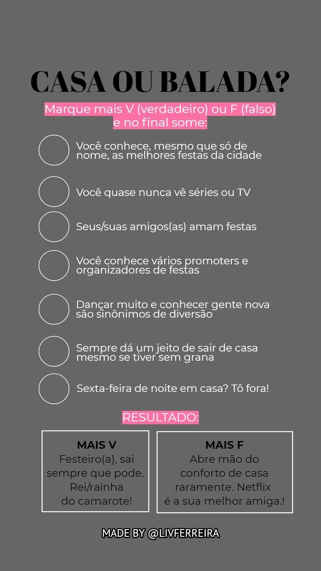 Template Instagram Casa Ou Balada Teste Status Frases Desafíos