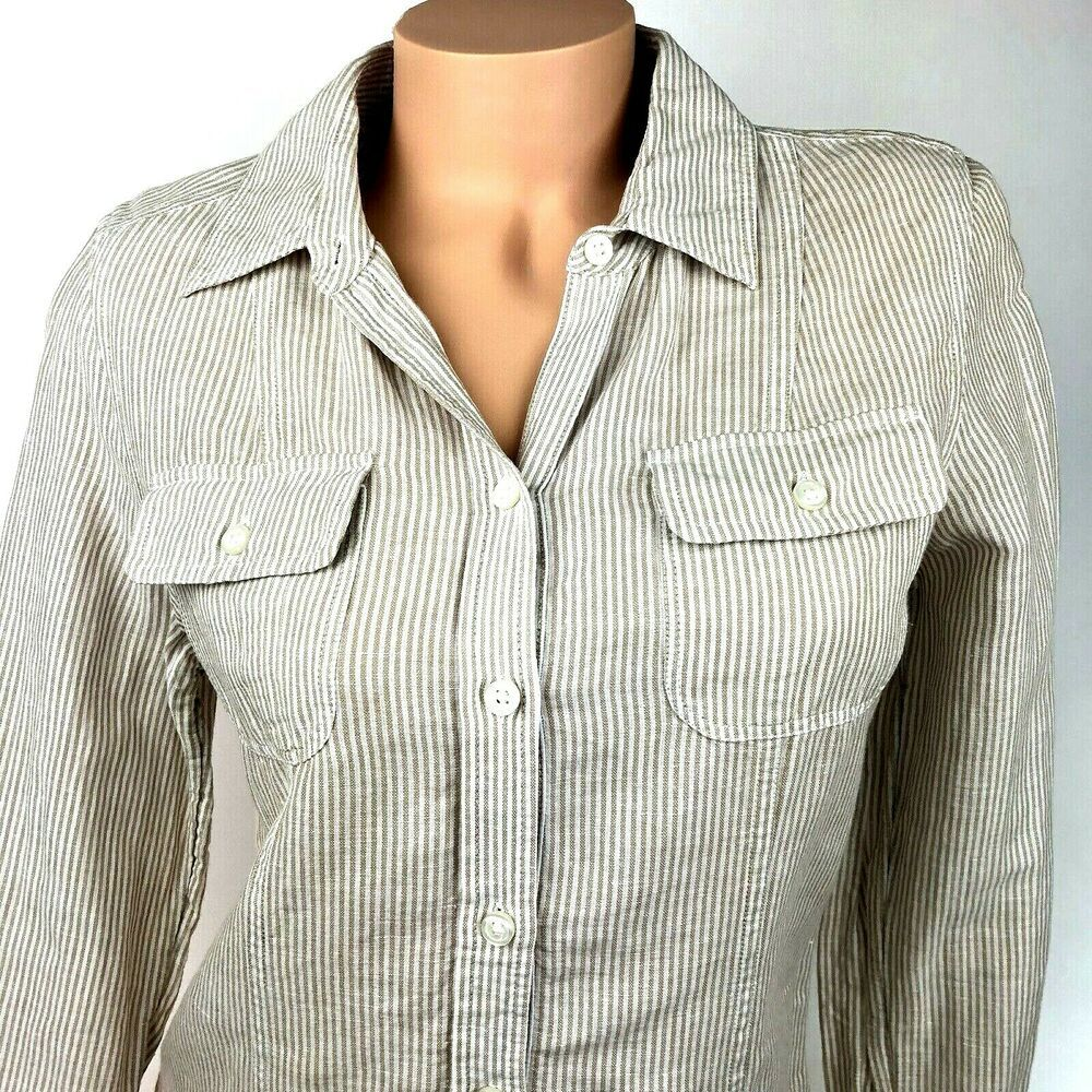 Banana Republic Womens Shirt Size 10 Linen Cotton Tan Long