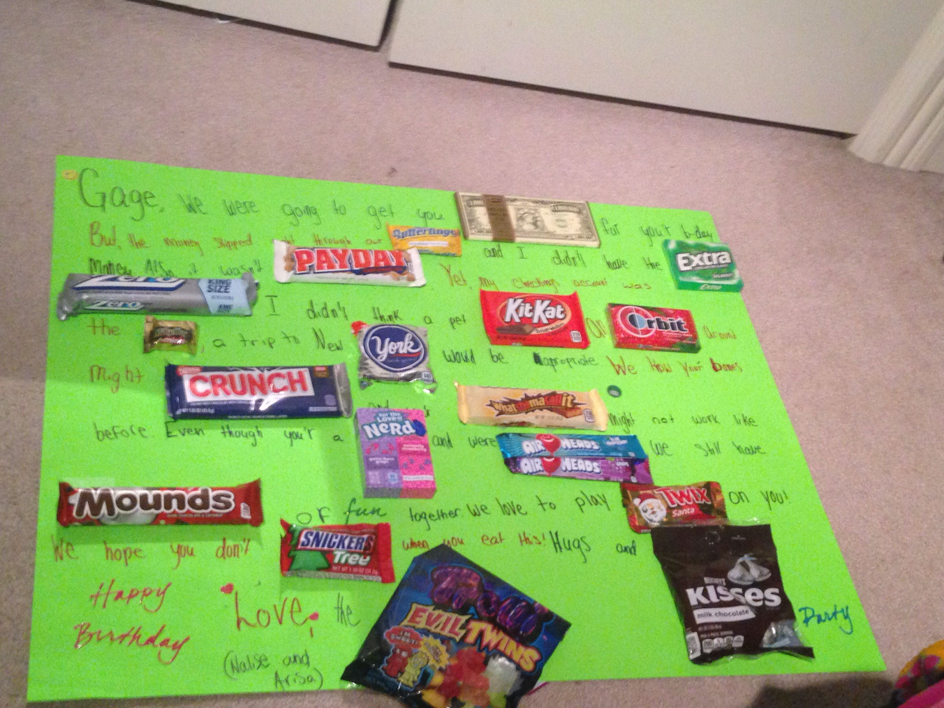 This a cute candy birthday board.