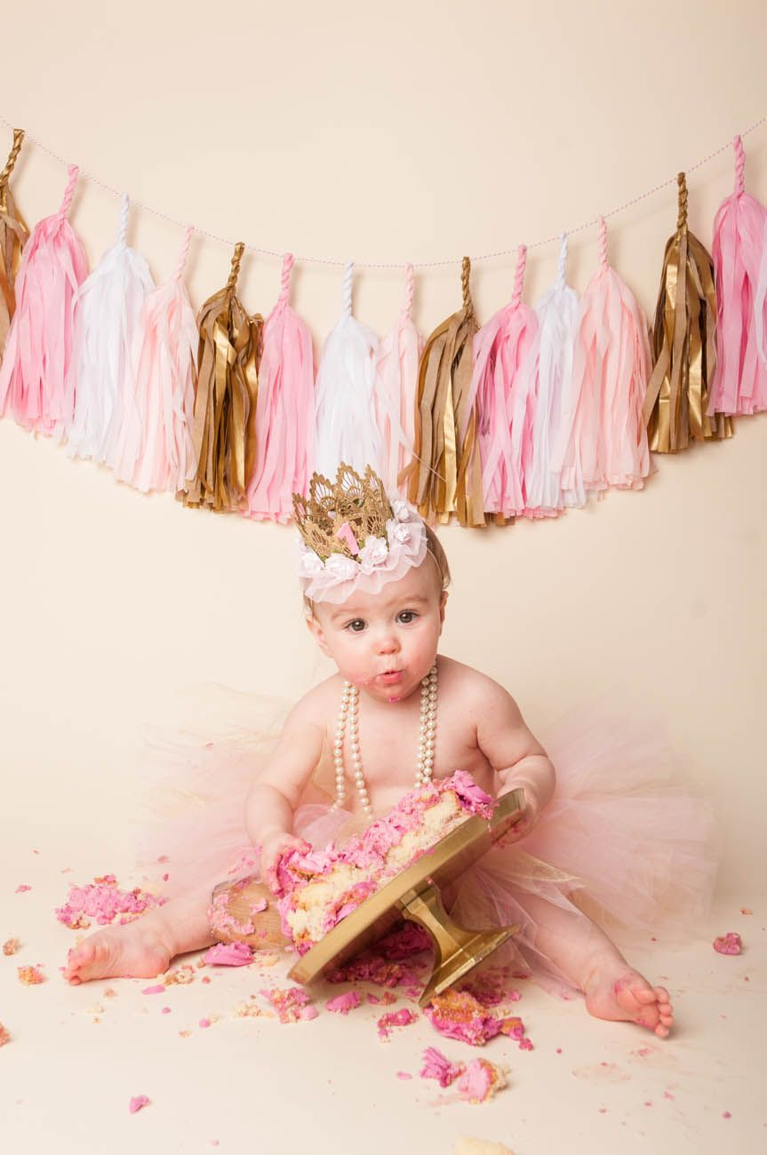 Pink, gold and white themed cake smash baby girl ...