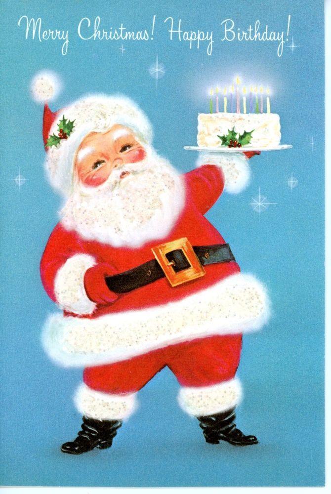 Vintage Norcross Christmas Greeting Card Santa & Birthday Cake Glittery 2811