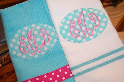 monogrammed towels - Do cute pink ribbon for K & navy for R