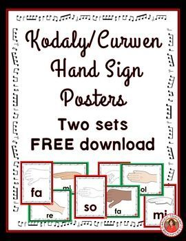 music lessons  |  Kodaly / Curwen Hand Sign Posters  TWO SETS to choose from! PRINT and laminate for display in your classroom! ♫ CLICK through to download your copy of save for later!   #musiceducation